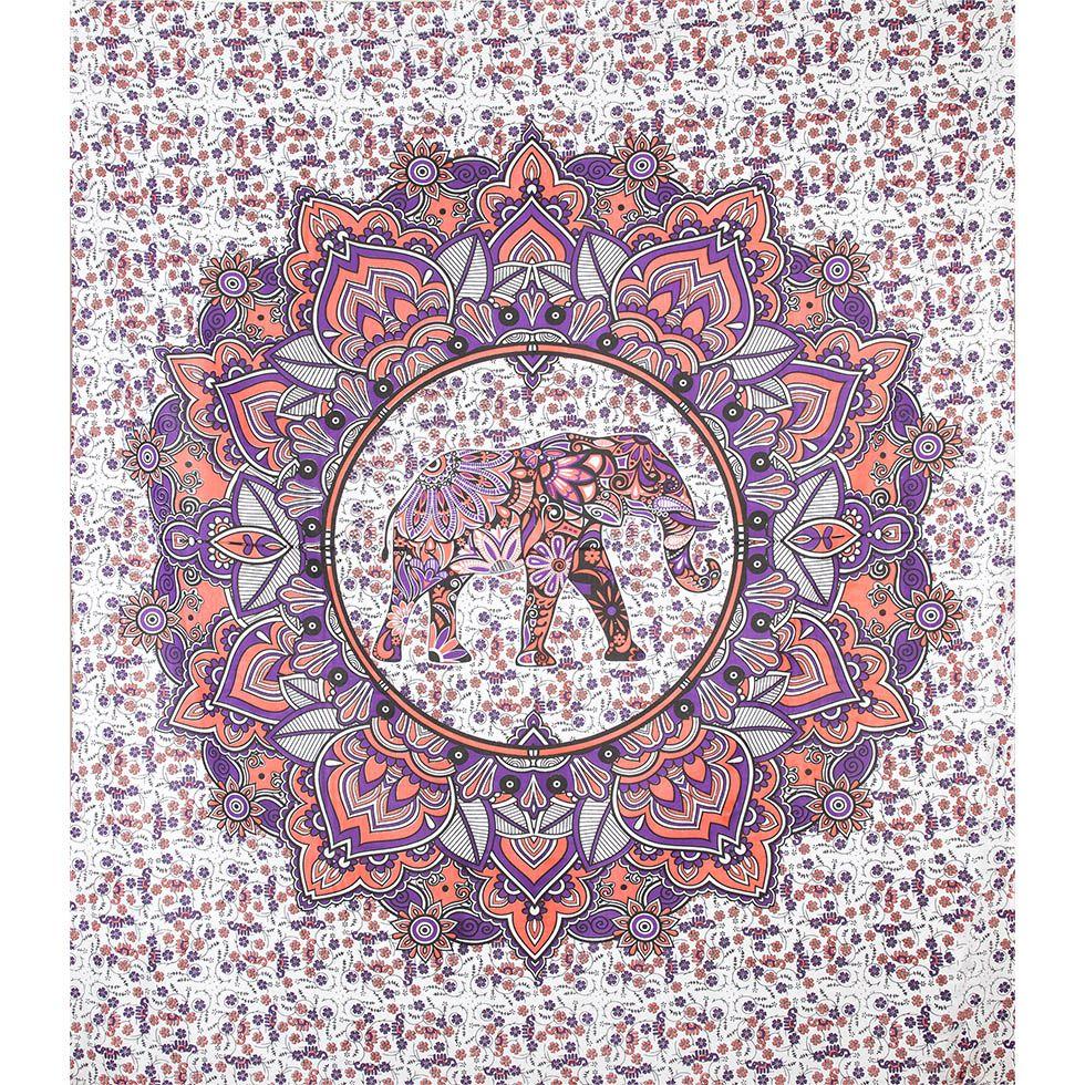 Cotton bed cover Elephant Mandala – pink-purple India
