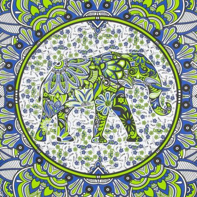 Cotton bed cover Elephant Mandala – green-blue India