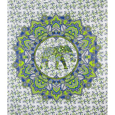Bed cover Elephant Mandala – green-blue