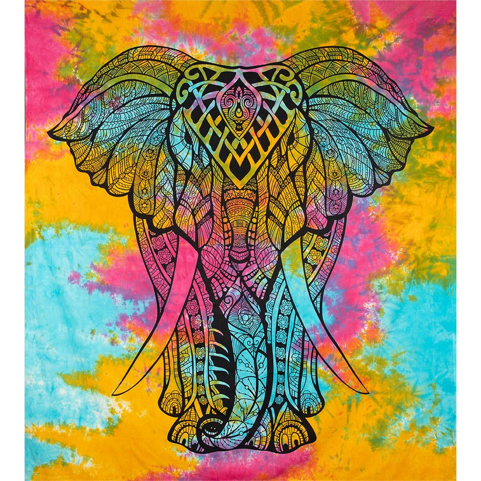 Cotton bed cover Big Elephant - varicoloured India