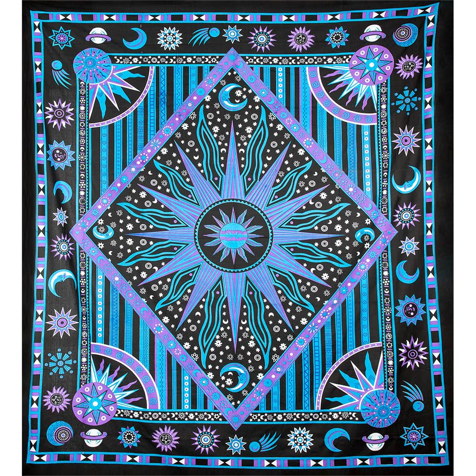 Cotton bed cover Space – purple-blue India