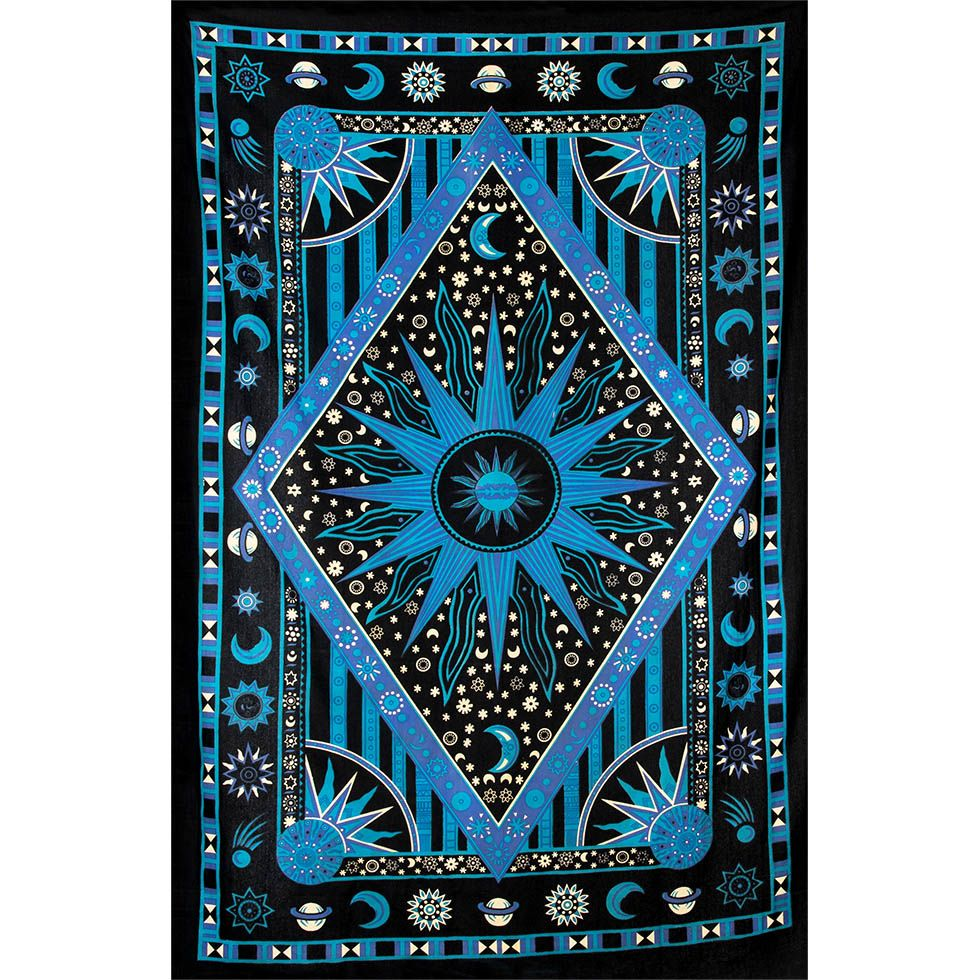 Cotton bed cover Space – blue India