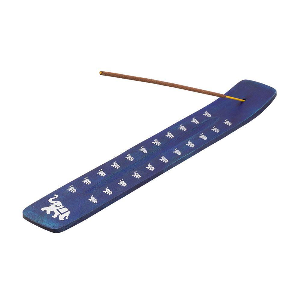 Wooden incense holder Elephant – blue
