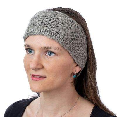 Crocheted woolen hat Bardia Light Grey Nepal