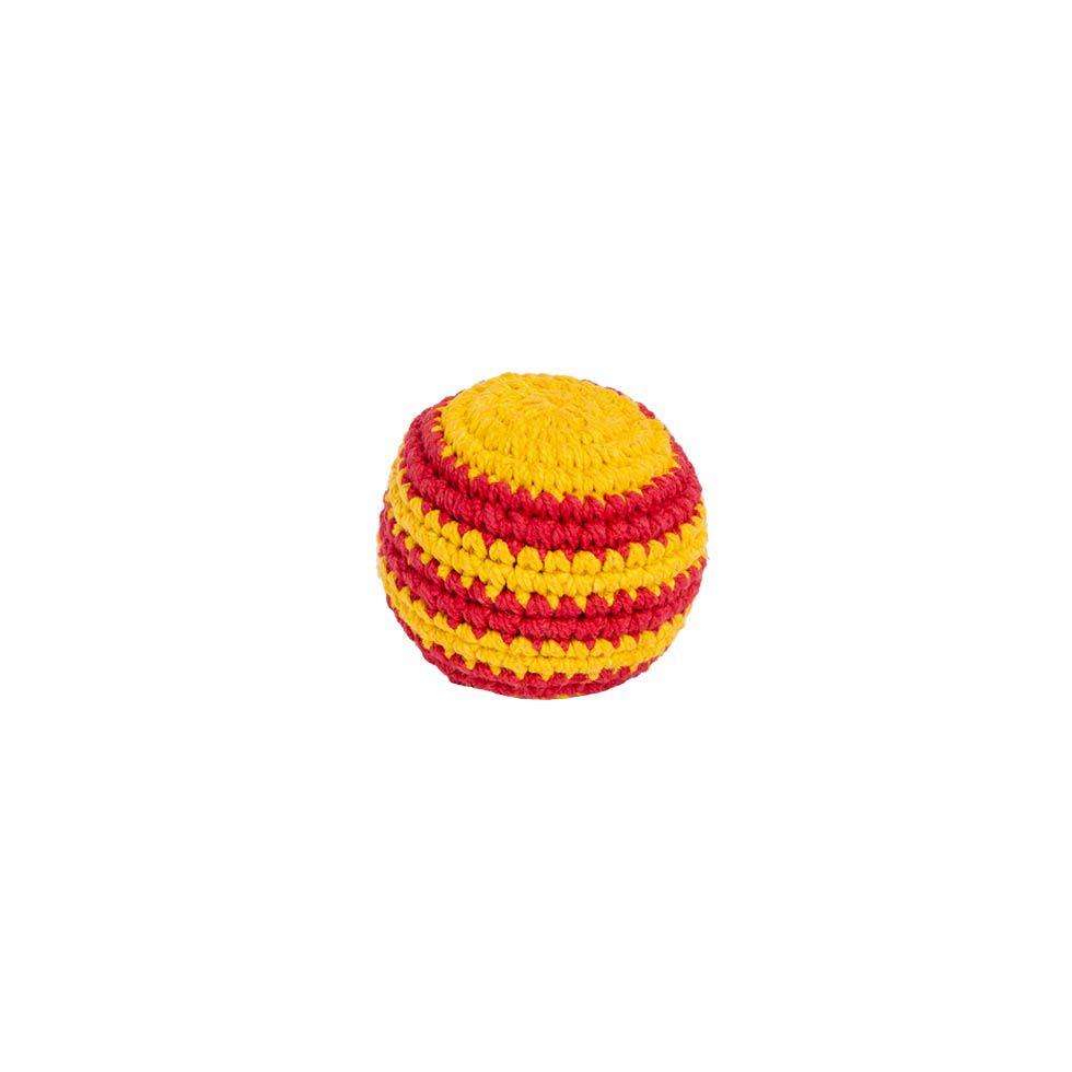 Crocheted hacky sack - Red-yellow Nepal
