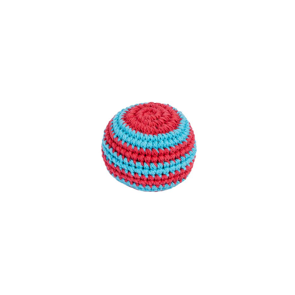 Crocheted hacky sack – Blue-red Nepal