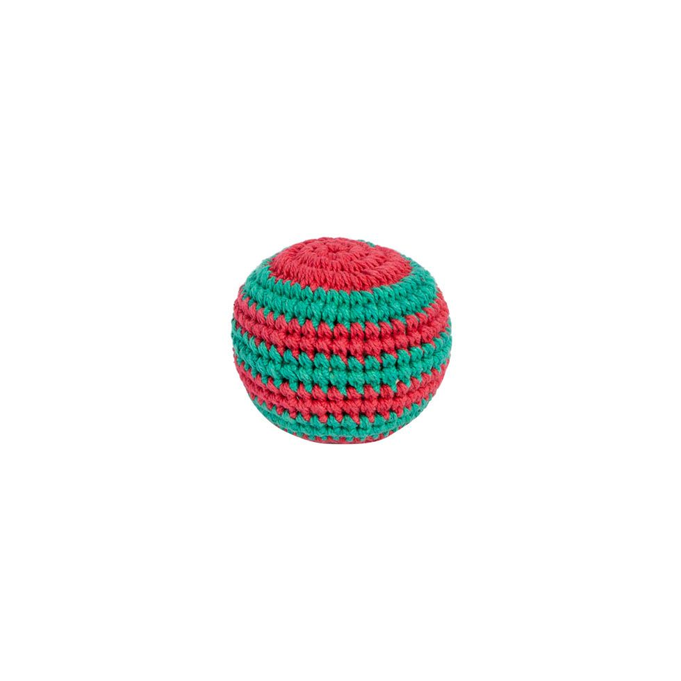 Crocheted hacky sack – Green-red Nepal