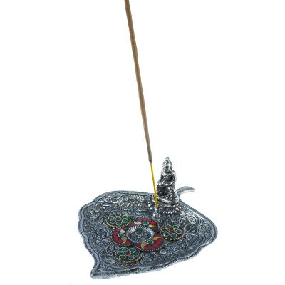 Incense holder Leaf with Buddha and a mosaic 2