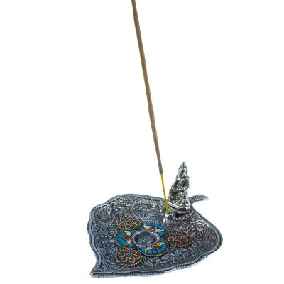 Incense holder Leaf with Buddha and a mosaic 1