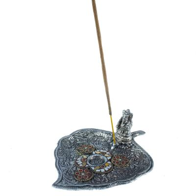 Incense holder Leaf with Ganesh and a mosaic 1