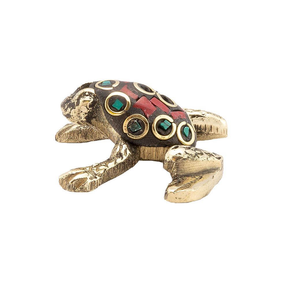 Metal incense holder Decorated frog 3 India