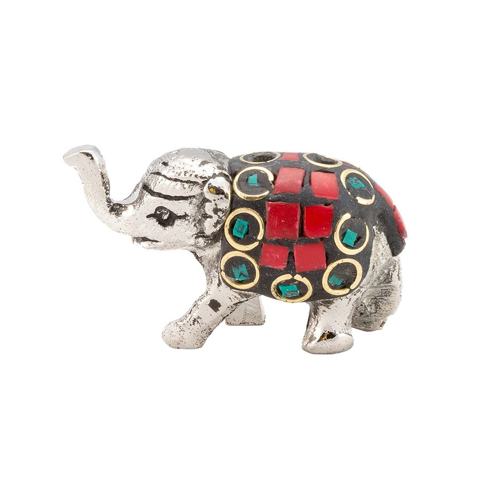 Metal incense holder Decorated baby elephant 1 India