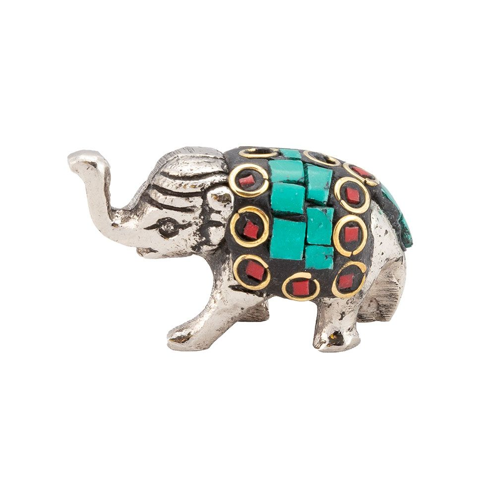 Metal incense holder Decorated baby elephant 2 India
