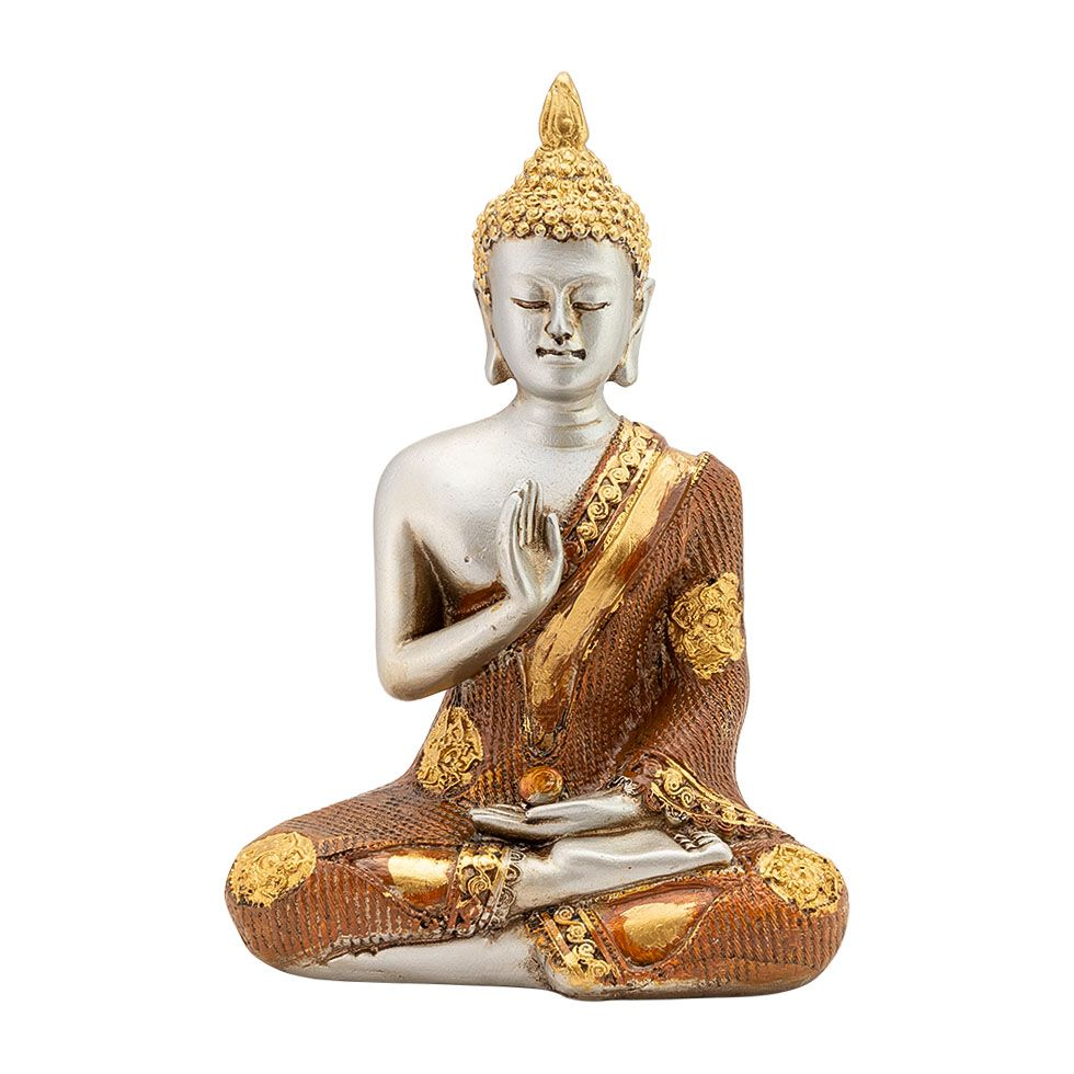 Decorated resin statuette Buddha, teacher of the world India