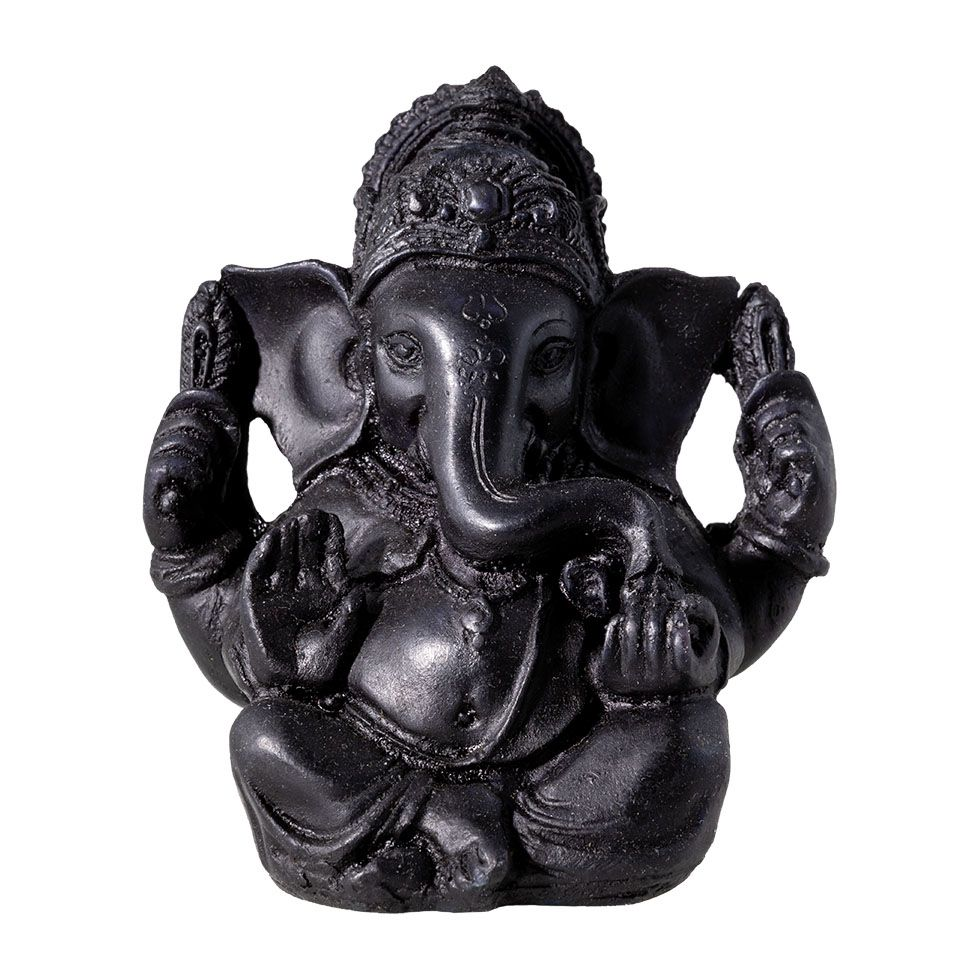 Decorated resin statuette Black Ganesh India