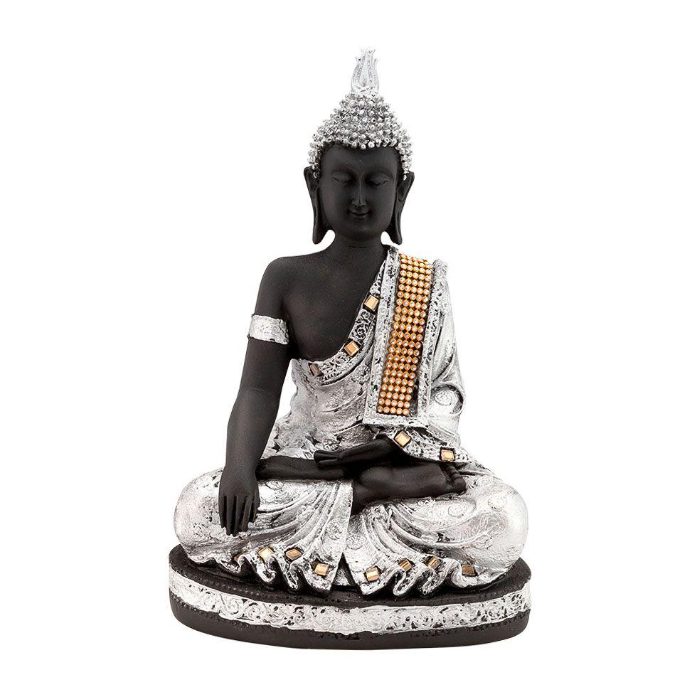 Decorated resin statuette Silver Buddha India