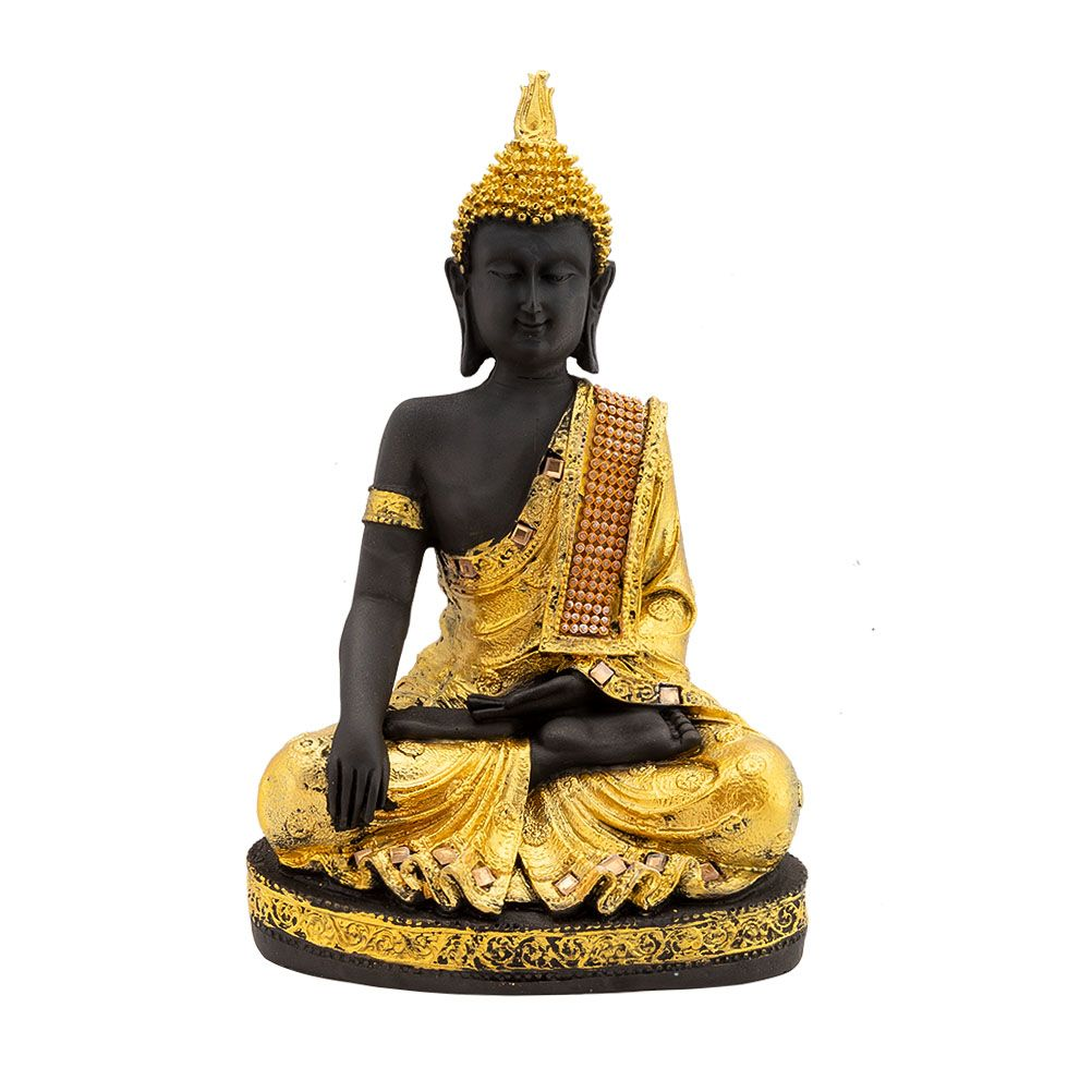 Decorated resin statuette Golden Buddha India