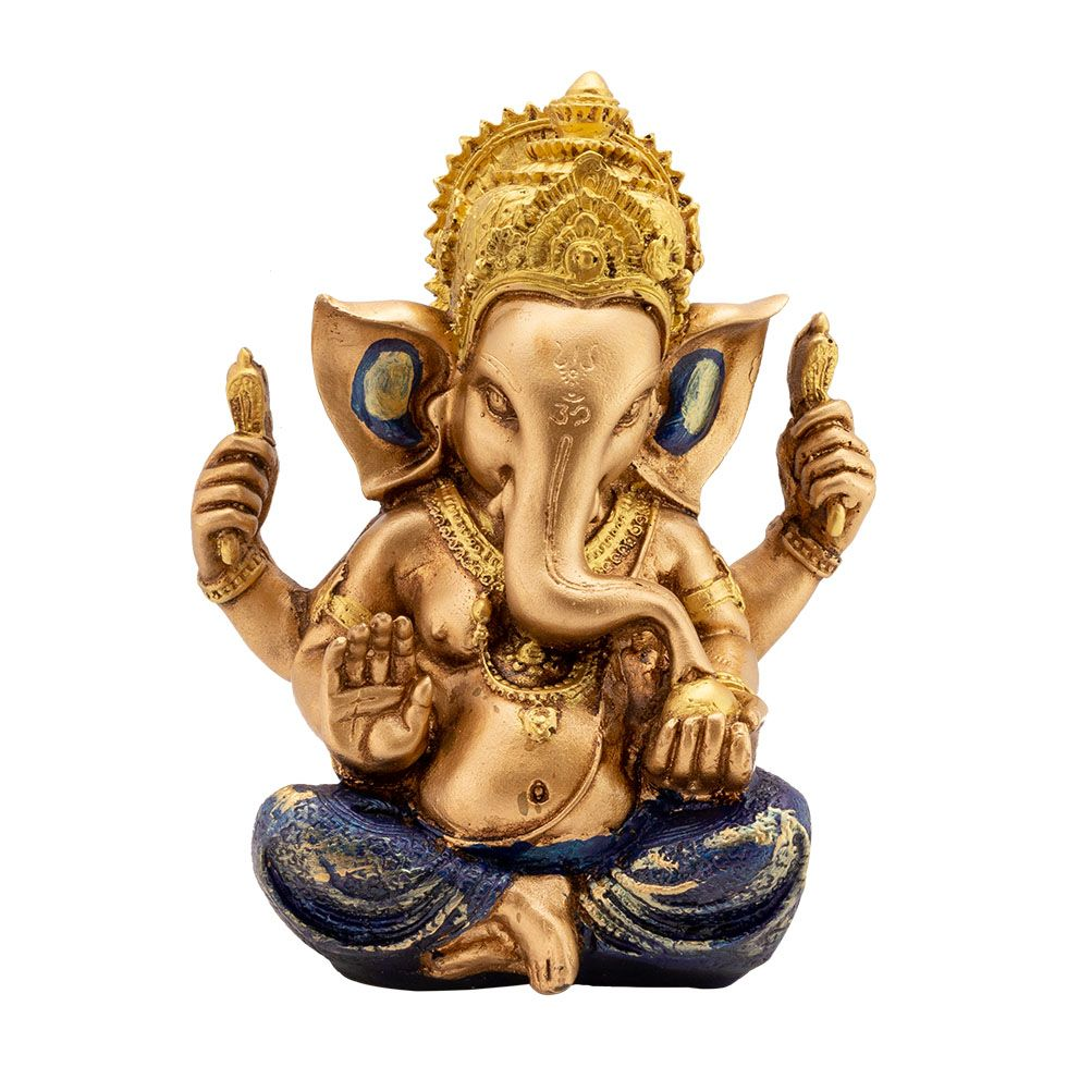 Decorated resin statuette Golden Ganesh India