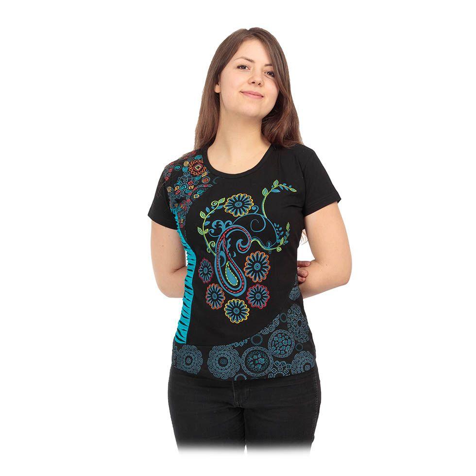 Women's ethno t-shirt with short sleeves Maridah Nepal