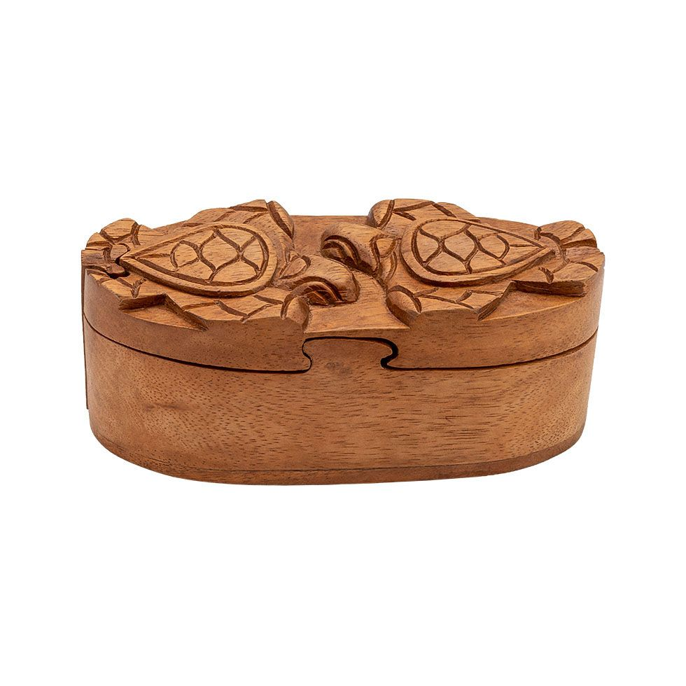 Wooden puzzle jewellery box Two turtles Indonesia