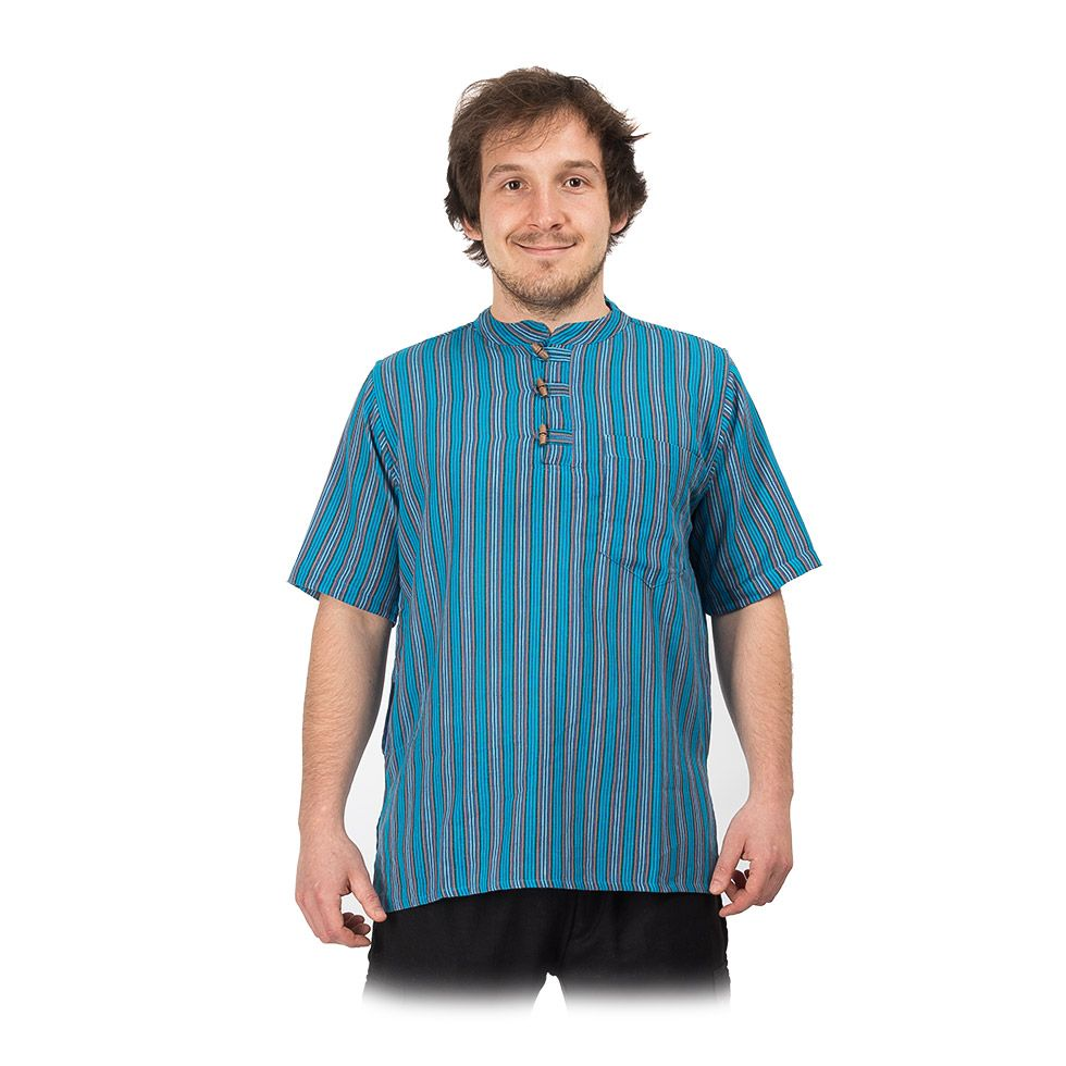 Kurta Pendek Pirus – men's shirt with short sleeves Nepal