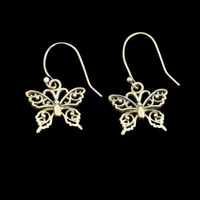 Brass earrings Butterflies