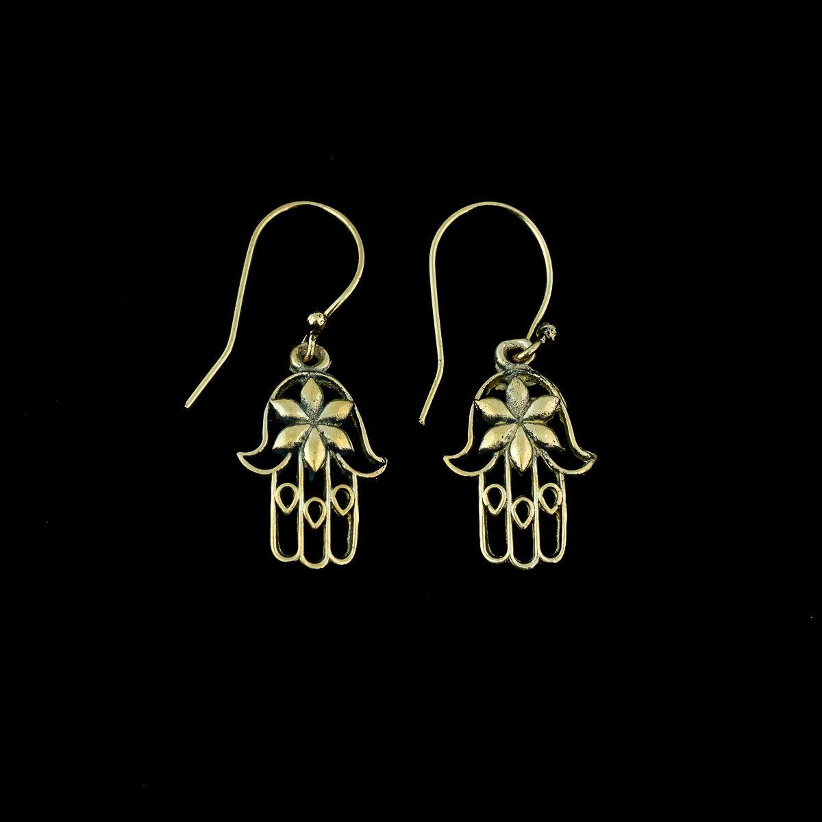 Brass earrings Hand of Fatima India