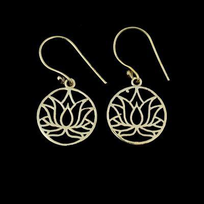 Brass earrings Lotus 2 | small, medium