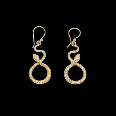 Brass earrings Snake Loop