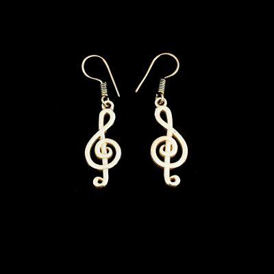 Brass earrings Treble Clef 2