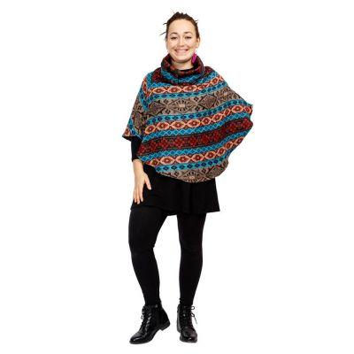 Poncho with stand-up collar Mirai Biru | UNI