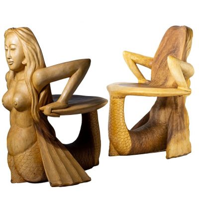 Hand-carved wooden chair Mermaid Indonesia