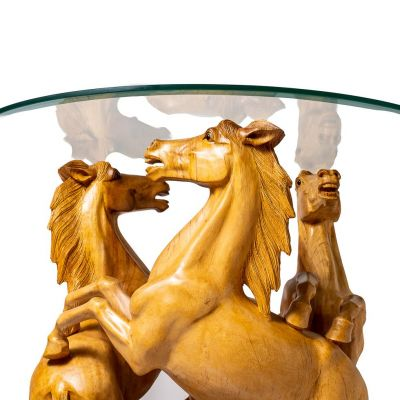 Hand-carved wooden table Three Horses Indonesia