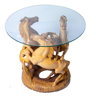 Hand-carved wooden table Three Horses