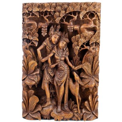 Carved wooden sculpture Rama, Sita and the golden deer
