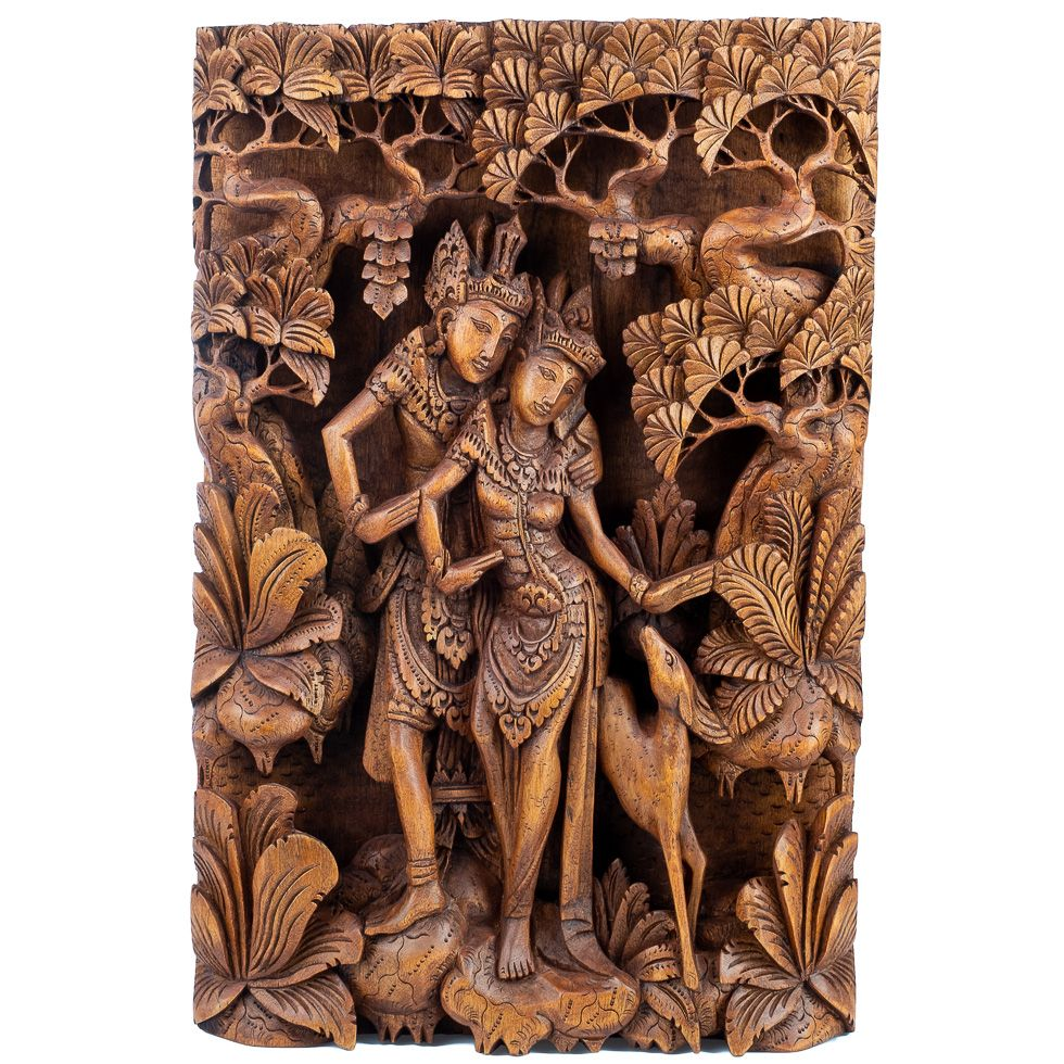Carved wooden sculpture Rama, Sita and the golden deer Indonesia