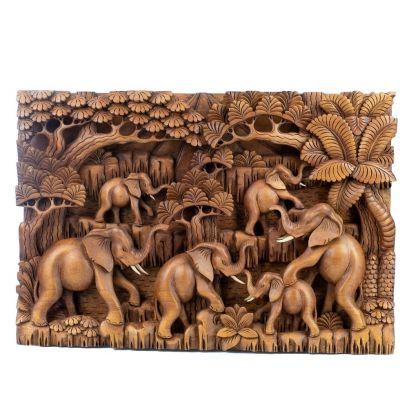 Wood carving Herd of elephants in the forest