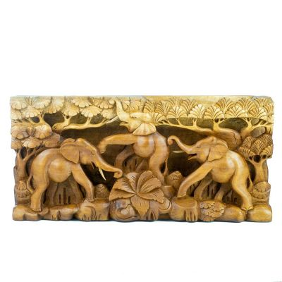 Carved wooden sculpture Three happy elephants Indonesia