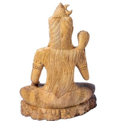 Carved wooden statue of Sitting Shiva Indonesia