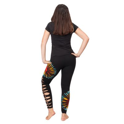Tie-dye leggings with openwork Katuru Black Nepal