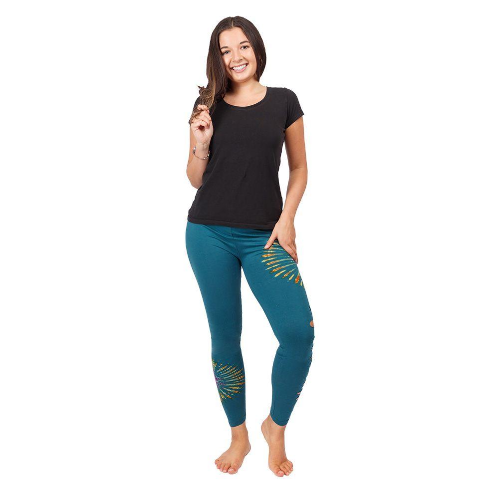 Tie-dye leggings with openwork Katuru Petrol Blue Nepal