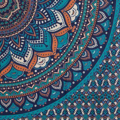 Cotton bed cover Lotus mandala – blue India