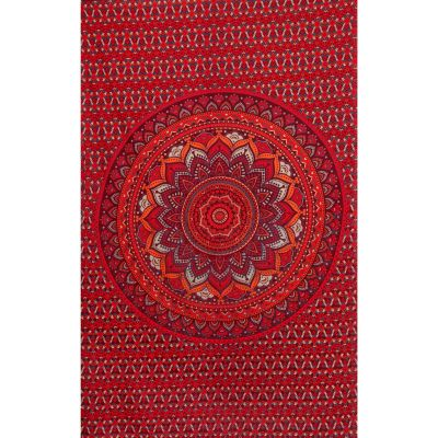 Cotton bed cover Lotus mandala – red-purple India