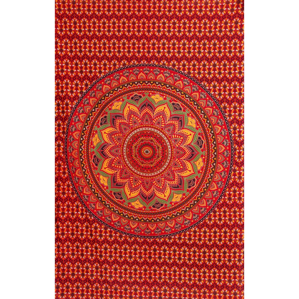 Cotton bed cover Lotus mandala – fiery India