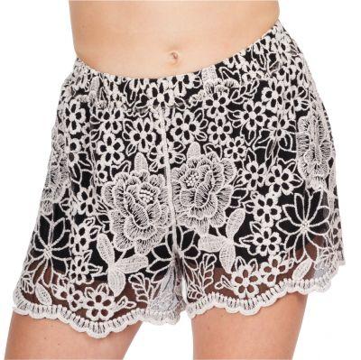 Women's crocheted shorts Wassana Rosetta Black | UNI