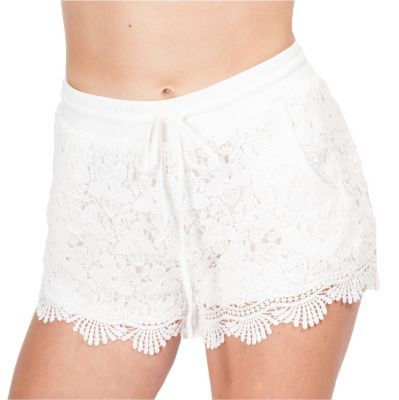 Women's crocheted shorts Wassana Blomma White | UNI