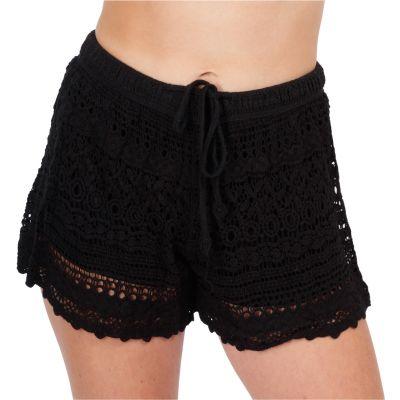 Women's crocheted shorts Wassana Boreh Black | UNI