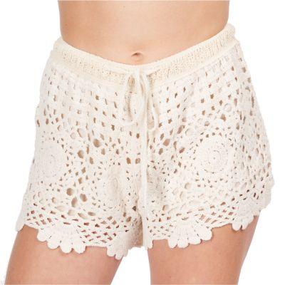 Women's crocheted shorts Wassana Jaminan Beige | UNI