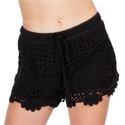 Women's crocheted shorts Wassana Jaminan Black | UNI
