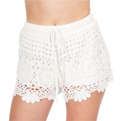 Women's crocheted shorts Wassana Jaminan White | UNI
